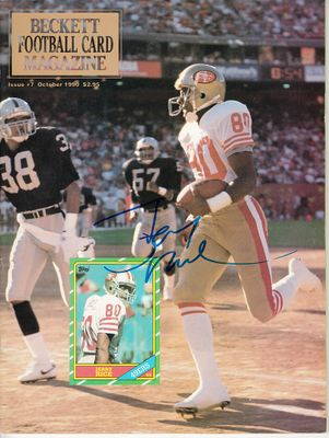 Jerry Rice autographed San Francisco 49ers 1990 Beckett Football magazine