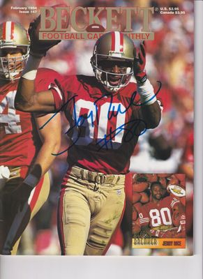 Jerry Rice autographed San Francisco 49ers 1994 Beckett Football magazine