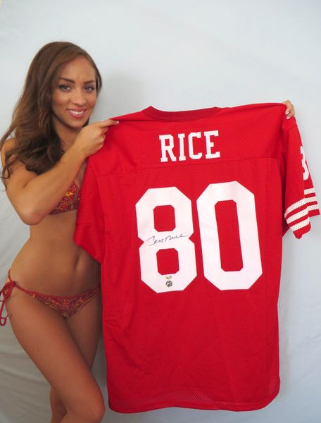 Jerry Rice autographed San Francisco 49ers stitched throwback jersey