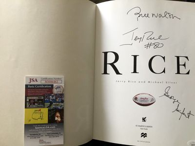 Jerry Rice Bill Walsh George Seifert autographed RICE 49ers coffee table photo book (JSA)