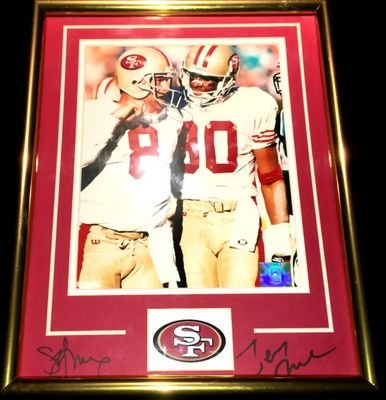 Jerry Rice and Steve Young autographed San Francisco 49ers 11x14 mat framed with 8x10 photo