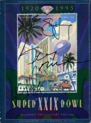 1994 San Francisco 49ers autographed Super Bowl 29 game program Jerry Rice Steve Young Dexter Carter William Floyd Ken Norton Jr.