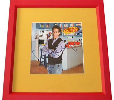 Jerry Seinfeld autographed apartment photo matted and framed