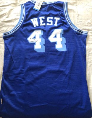Jerry West autographed Los Angeles Lakers Adidas throwback stitched jersey (JSA)