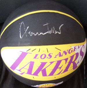 Jerry West autographed Los Angeles Lakers logo basketball