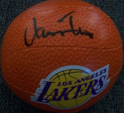 Jerry West autographed Los Angeles Lakers mini foam basketball