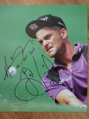 Jesper Parnevik autographed 10x13 golf book photo (inscribed)
