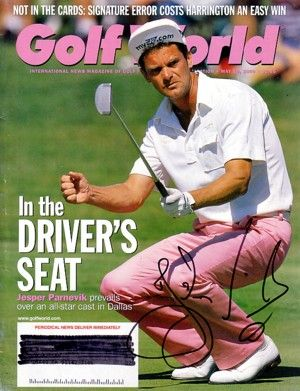 Jesper Parnevik autographed 2000 Golf World magazine cover