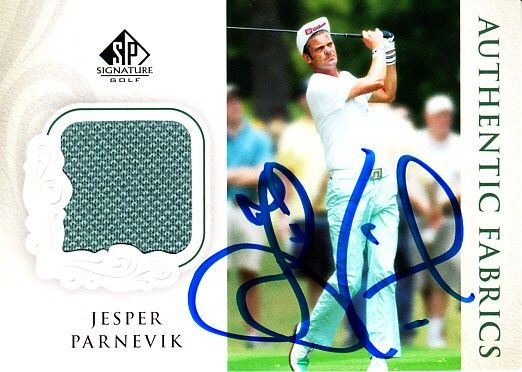 Jesper Parnevik autographed 2004 SP Signature Golf Authentic Fabrics tournament worn shirt card