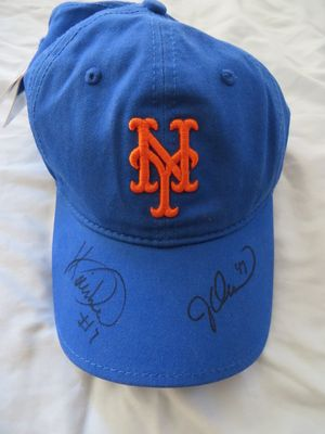 Jesse Orosco and Kevin Mitchell autographed New York Mets throwback cap or hat