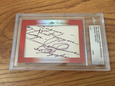 Jesse Owens and Carl Lewis 2017 Leaf Masterpiece Cut Signature certified autograph card 1/1 JSA