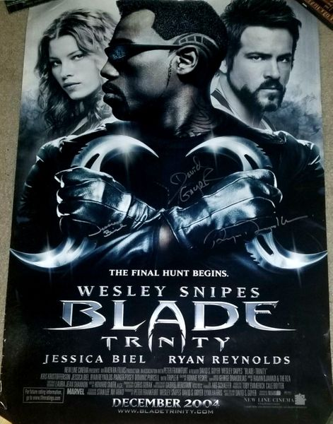 Jessica Biel and Ryan Reynolds autographed Blade Trinity full size movie poster