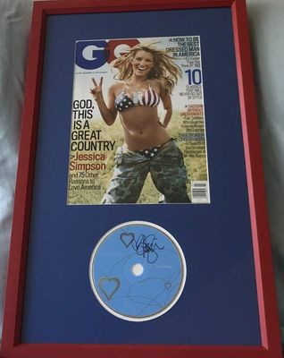 Jessica Simpson autographed Sweet Kisses CD matted and framed with 2005 GQ magazine bikini cover
