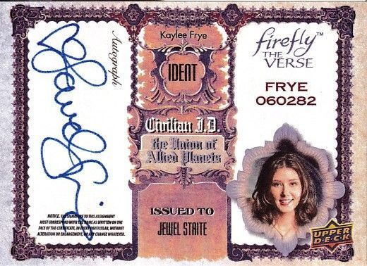 Jewel Staite certified autograph Firefly (Serenity) 2015 Upper Deck card JS
