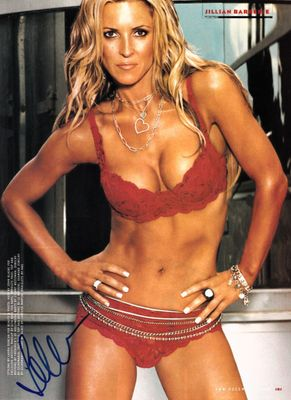 Jillian Barberie autographed FHM magazine full page red lingerie photo
