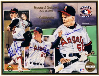 Jim Abbott Jimmie Reese Nolan Ryan autographed Angels 1992 Upper Deck card sheet