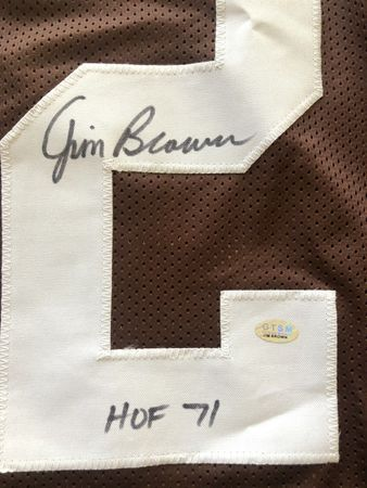 Jim Brown autographed Cleveland Browns stitched jersey inscribed HOF 71 (GTSM)