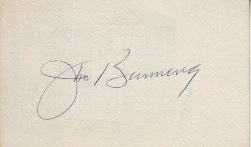 Jim Bunning autographed 3x5 index card