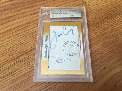 Jim Craig and Dave Silk 1980 Miracle On Ice 2016 Leaf Masterpiece Cut Signature certified autograph card 1/1 JSA