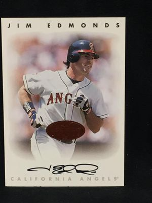 Jim Edmonds Angels 1996 Leaf certified autograph card
