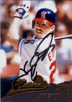 Jim Edmonds autographed Angels 1996 Pinnacle card