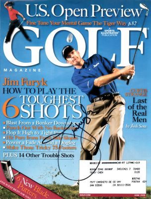 Jim Furyk autographed 2008 Golf Magazine cover