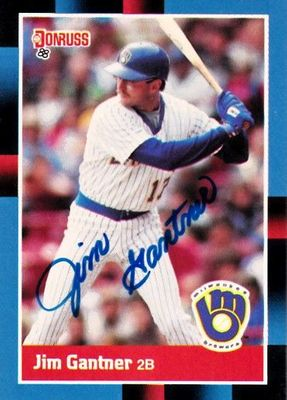 Jim Gantner autographed Milwaukee Brewers 1988 Donruss card