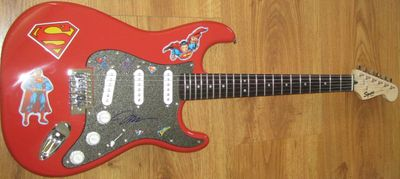 Jim Lee autographed Superman Fender Bullet electric guitar