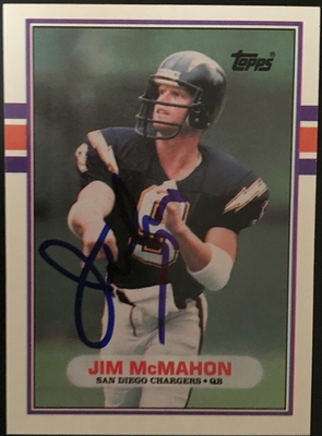 Jim McMahon autographed San Diego Chargers 1989 Topps Traded card
