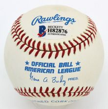 Jim Palmer autographed Rawlings American League baseball inscribed HOF 1990 (BAS authenticated)