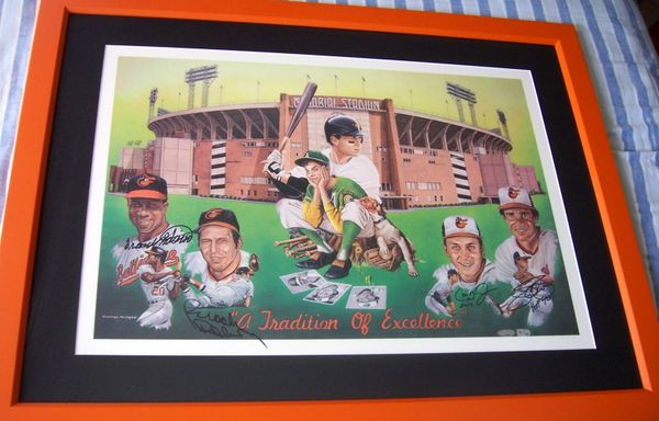 Jim Palmer Cal Ripken Brooks Robinson Frank Robinson autographed Baltimore Orioles 1991 lithograph matted and framed