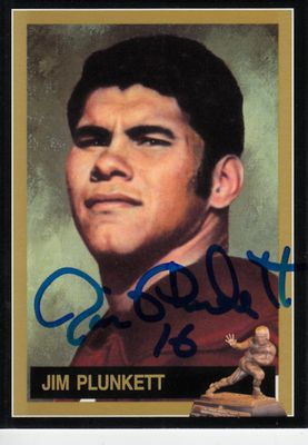 Jim Plunkett autographed 1970 Heisman Trophy winner card