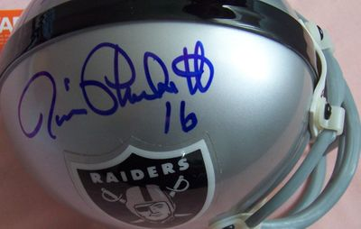 Jim Plunkett and Napoleon McCallum autographed Oakland Raiders mini helmet