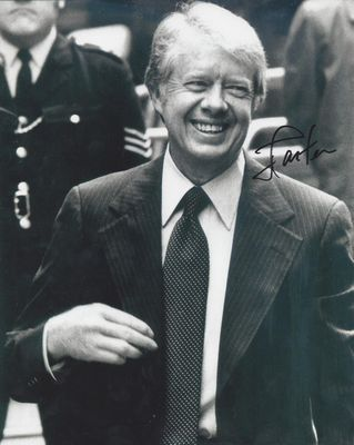 Jimmy Carter autographed 8x10 black & white photo (JSA)