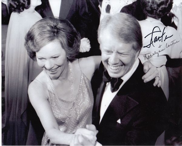 Jimmy Carter and Rosalynn Carter autographed 8x10 black & white inauguration photo (JSA)