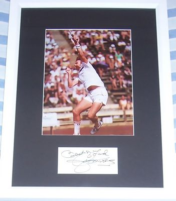 Jimmy Connors autograph matted and framed with vintage tennis photo
