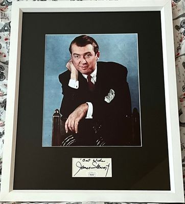 Jimmy Stewart autograph matted and framed with 8x10 photo inscribed Best Wishes (JSA)