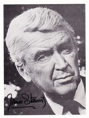 Jimmy Stewart autographed 1981 black & white portrait photo