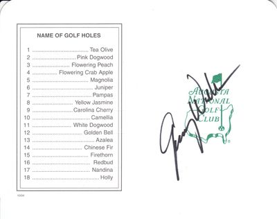 Jimmy Walker autographed Augusta National Masters scorecard