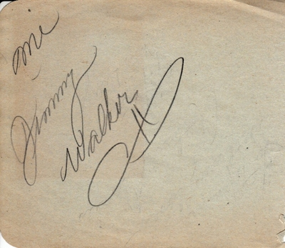 Jimmy Walker autographed autograph album or book page