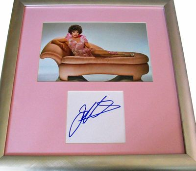 Joan Collins autograph matted & framed with vintage 8x10 photo