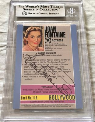 Joan Fontaine autographed 1991 Hollywood Walk of Fame card (BAS authenticated and slabbed)