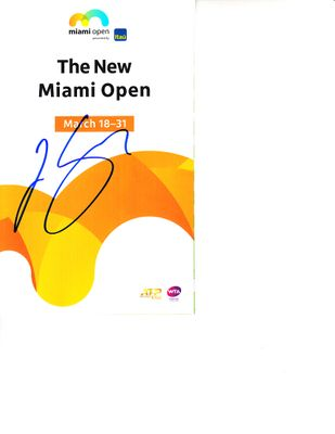 Joao Sousa autographed 2019 Miami Open tennis tournament map and program