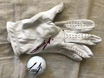 Joaquin Niemann autographed 2020 Farmers Insurance Open used Titleist golf glove and golf ball