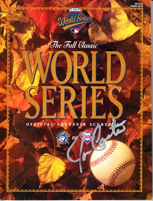 Joe Carter autographed 1993 World Series program