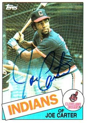 Joe Carter autographed Cleveland Indians 1985 Topps card