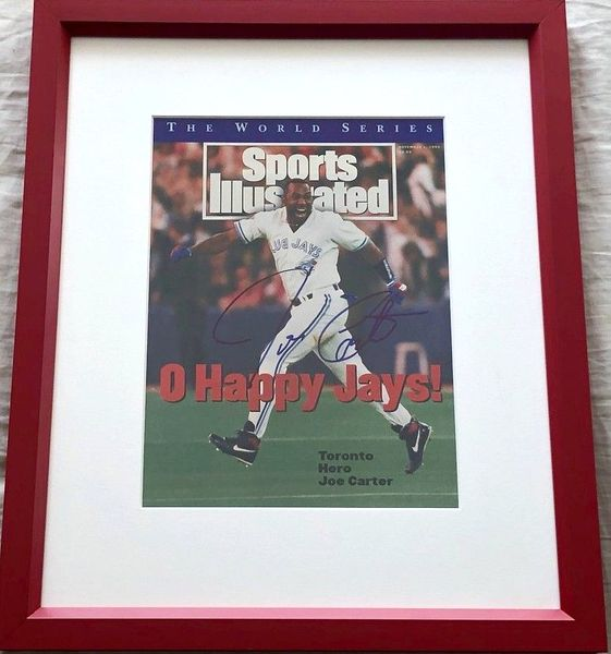 Joe Carter autographed Toronto Blue Jays 1993 World Series Champions Sports Illustrated cover matted and framed