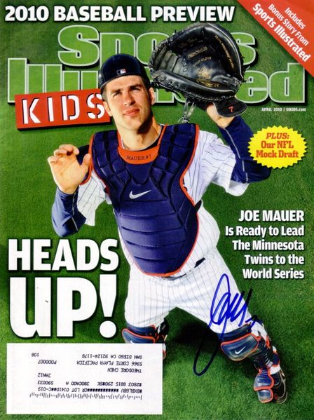 Joe Mauer autographed Minnesota Twins 2010 Sports Illustrated for Kids magazine cover