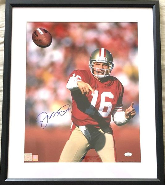 Joe Montana autographed San Francisco 49ers 16x20 poster size action photo matted and framed JSA