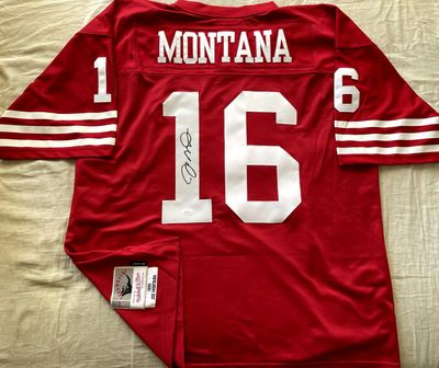 Joe Montana autographed San Francisco 49ers 1990 authentic Mitchell and Ness red jersey (JSA)